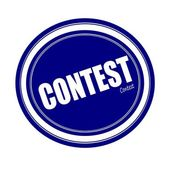 CONTEST white stamp text on blue — Stock Photo