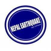NEPAL EARTHQUAKE white stamp text on blue — Stock Photo