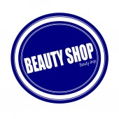 BEAUTY SHOP white stamp text on blue — Stock Photo