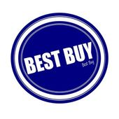 BEST BUY white stamp text on blue — Stock Photo