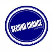 SECOND CHANCE white stamp text on blue — Stock Photo