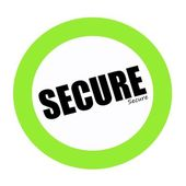 SECURE black stamp text on green — Stock Photo