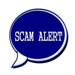 SCAM alert white stamp text on blueblack Speech Bubble — Stock Photo #78575718