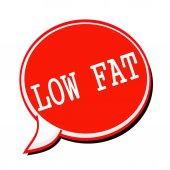 LOW FAT white stamp text on red Speech Bubble — Stock Photo