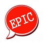 EPIC white stamp text on red Speech Bubble — Stock Photo