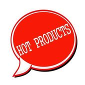 HOT PRODUCTS white stamp text on red Speech Bubble — Stock Photo