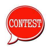 CONTEST white stamp text on red Speech Bubble — Stock Photo