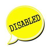 Texto de discapacitados sello negro sobre amarillo burbujas de discurso — Foto de Stock