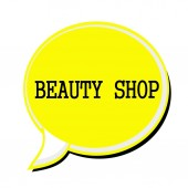 BEAUTY SHOP black stamp text on yellow Speech Bubble — Stock Photo