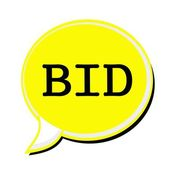 Bieten Sie schwarze Stempeltext auf gelbe Sprechblase — Stockfoto