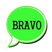 BRAVO black stamp text on green Speech Bubble — Stock Photo