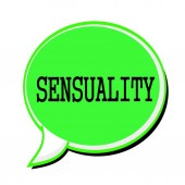 SENSUALITY black stamp text on green Speech Bubble — Stock Photo