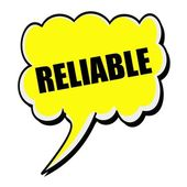 Reliable black stamp text on yellow Speech Bubble — Stock Photo