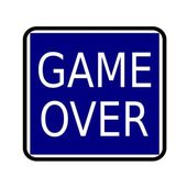 GAME OVER white stamp text on buleblack background — Stock Photo