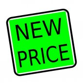 New price black stamp text on green background — Stock Photo
