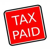 Tax paid white stamp text on red background — Stock Photo