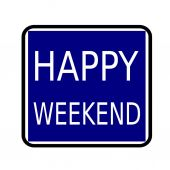 HAPPY WEEKEND white stamp text on buleblack background — Stock Photo