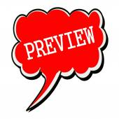 Preview white stamp text on red Speech Bubble — Stock Photo