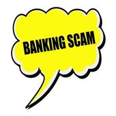 BANKING SCAM black stamp text on yellow Speech Bubble — Stock Photo