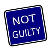 NOT GUILTY white stamp text on buleblack background — Stock Photo