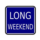 LONG WEEKEND white stamp text on buleblack background — Stock Photo
