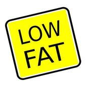 Low fat black stamp text on yellow background — Stock Photo