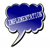 Implementation white stamp text on blueblack Speech Bubble — Stock Photo