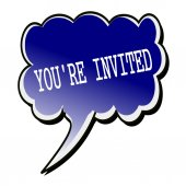 You're Invited white stamp text on blueblack Speech Bubble — Stock Photo