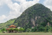 Chinese pavilion located near the mountains — Stock Photo