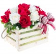 Red and white rose in a wooden basket with beautiful ribbon, gif — Stock Photo #63936573