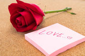 "Single red rose with post it with word ""love"", corkboard backgro — Stock Photo"