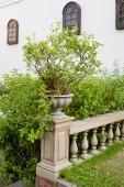Ceramic flowerpots on banister — Stock Photo