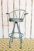 Vintage stool with white wooden background. — 图库照片