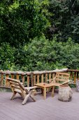 Outdoor bench and view of forest — Stock Photo
