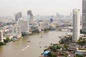 Top view ship on Chao Phraya river, bridge and city scape in Ban — Photo