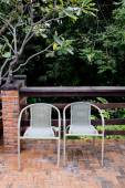Out door couple of rattan chairs. — Stock Photo