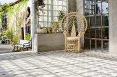 Luxury rattan chair outdoor house — Stock Photo