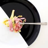 Close-up shot of a folk with tasty 3 colors pf pasta — Stock Photo