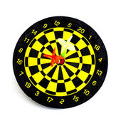 Two darts in center of target isolated on white — Stock Photo