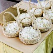 Wedding basket with white flower — Stock Photo