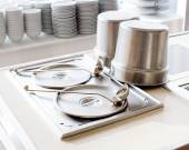 Closeup of chafing dishes at a party — Stock Photo