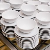 Accurate pile stack of the round ceramic white empty copyspace d — Stock Photo