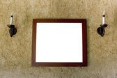 Empty brown interior with windows and picture frame — Stock Photo