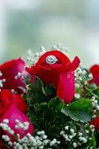 Set of wedding rings in red rose taken closeup. — Stock Photo