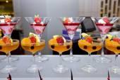 Glass of fresh fruit jelly of buffet.Finger food. — Stok fotoğraf