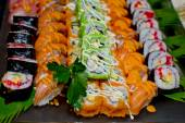 Japanese Cuisine -Buffet catering style Sushi Set in restaurant — Stock Photo