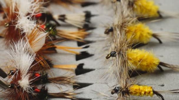 Señuelos de pesca con mosca — Vídeo de stock