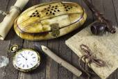 Pocket watch, box and notepad — Stock Photo