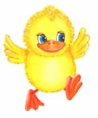 Funny yellow duckling — Stock Photo