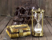 Halloween still life with creepy skull — Foto de Stock
